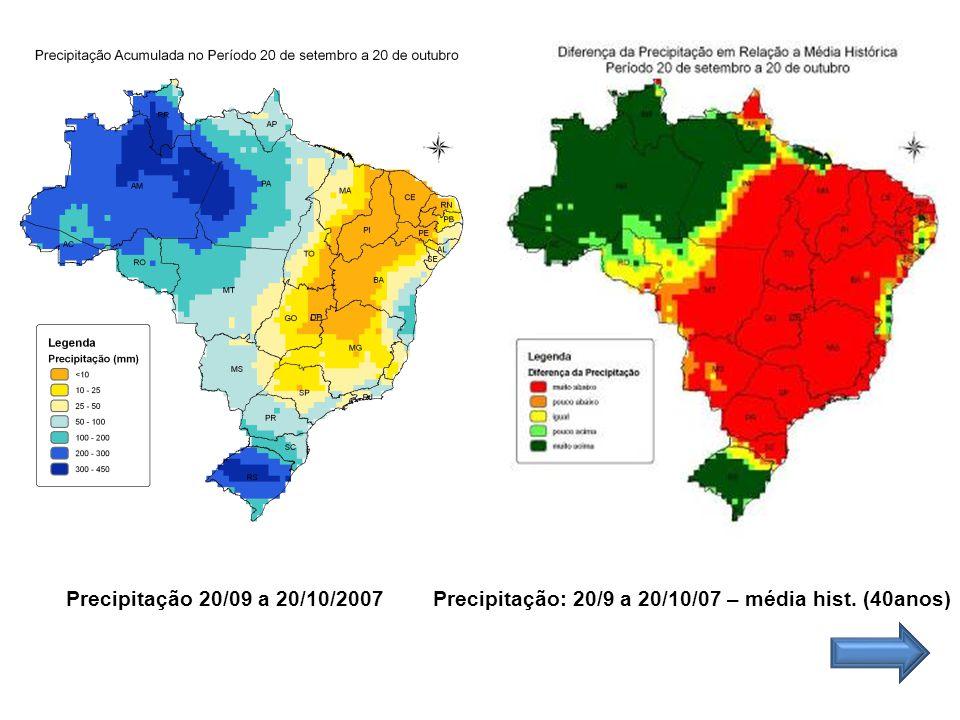 Precipitação 20/09 a 20/10/2007 Precipitação: 20/9 a 20/10/07 – média hist. (40anos)