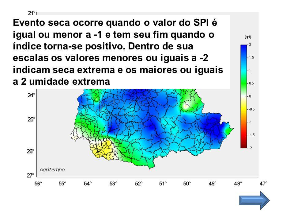 Evento seca ocorre quando o valor do SPI é igual ou menor a -1 e tem seu fim quando o índice torna-se positivo.