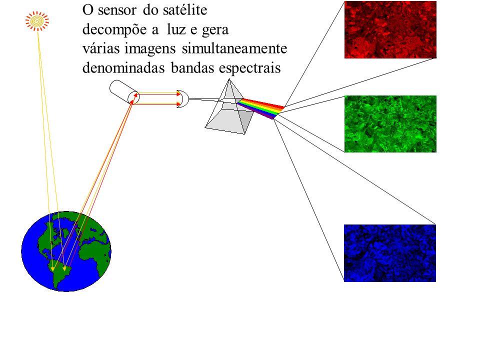 O sensor do satélite decompõe a luz e gera. várias imagens simultaneamente.
