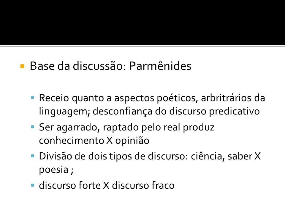 Base da discussão: Parmênides
