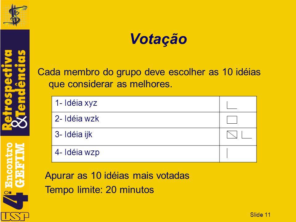 Votação Cada membro do grupo deve escolher as 10 idéias que considerar as melhores. 1- Idéia xyz. 2- Idéia wzk.