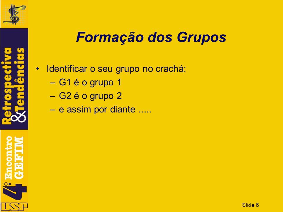 Formação dos Grupos Identificar o seu grupo no crachá: G1 é o grupo 1