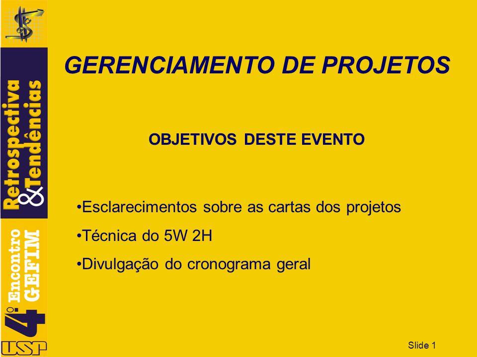 GERENCIAMENTO DE PROJETOS OBJETIVOS DESTE EVENTO