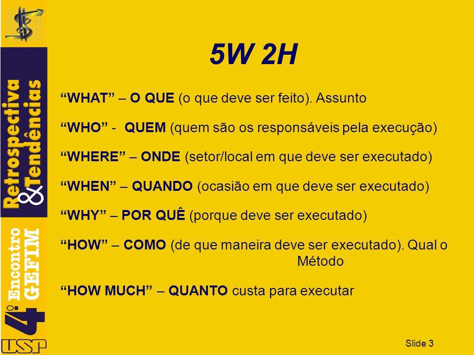 5W 2H WHAT – O QUE (o que deve ser feito). Assunto