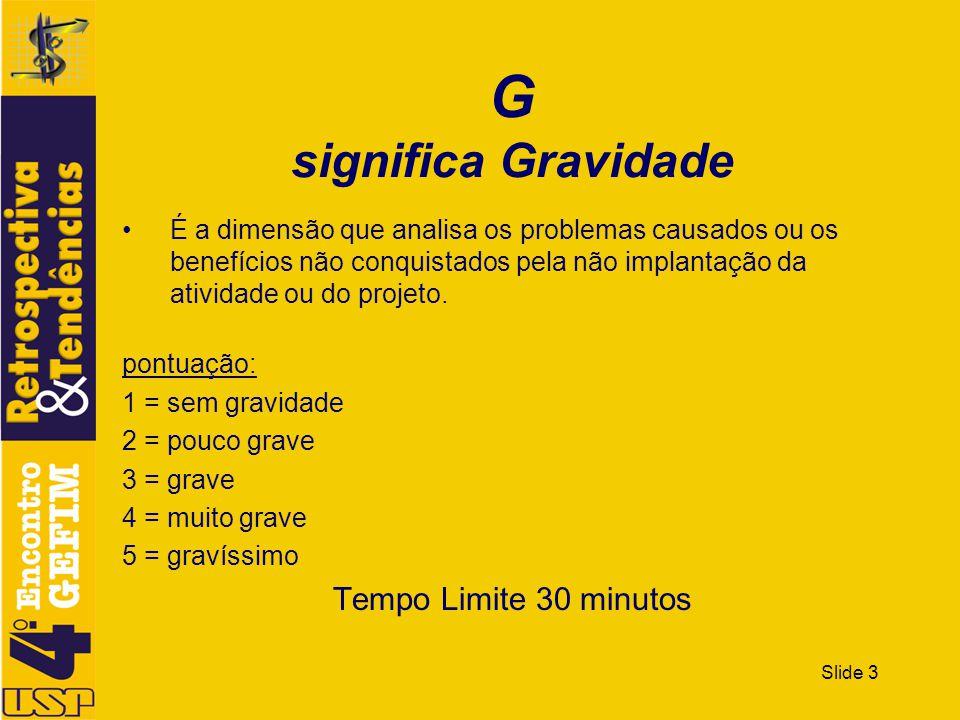 G significa Gravidade Tempo Limite 30 minutos