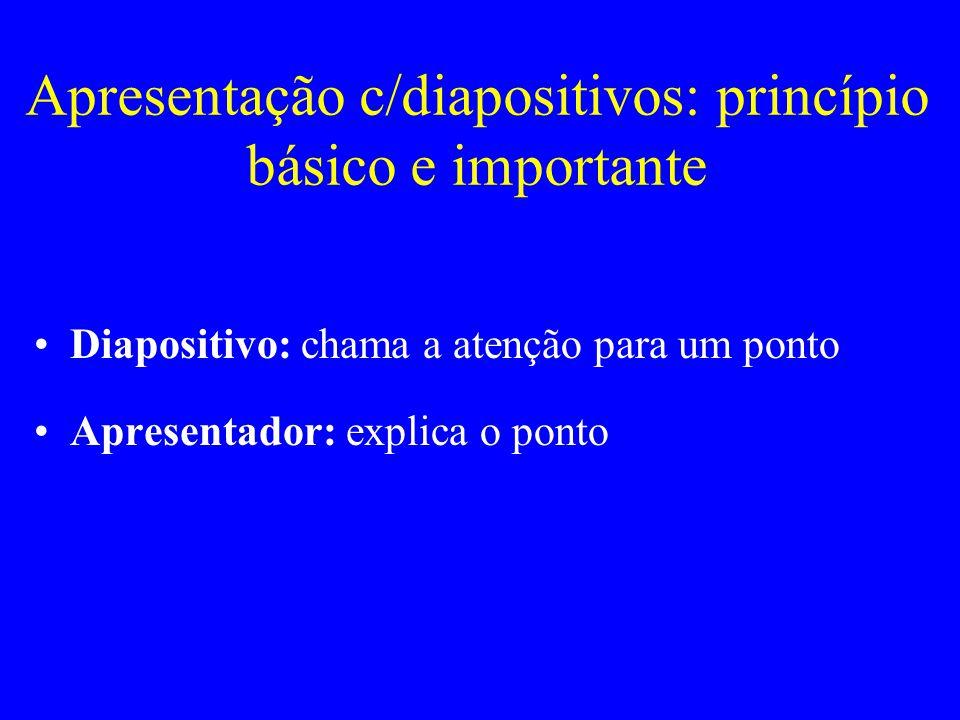 Apresentação c/diapositivos: princípio básico e importante