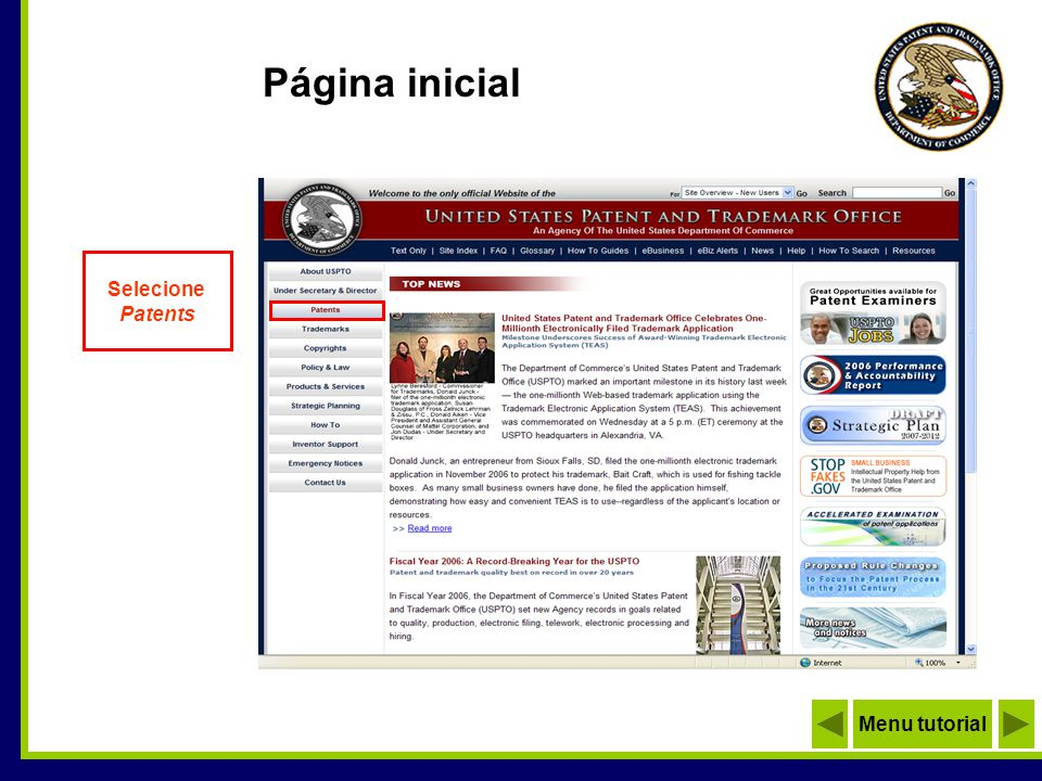 Página inicial Selecione Patents Menu tutorial