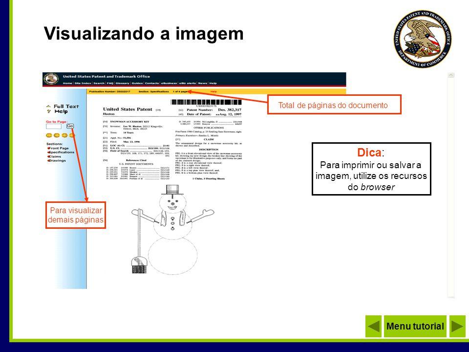 Visualizando a imagem Dica: Para imprimir ou salvar a