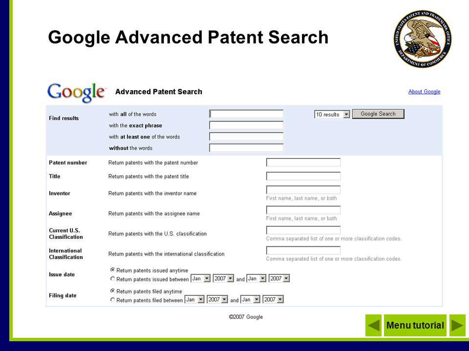 Google Advanced Patent Search