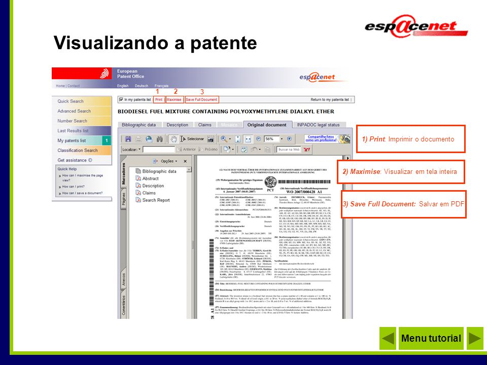Visualizando a patente