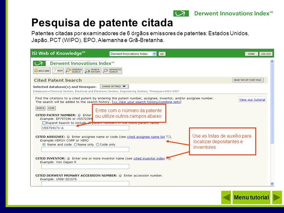 Pesquisa de patente citada