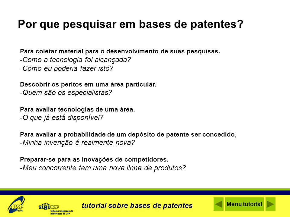 Por que pesquisar em bases de patentes