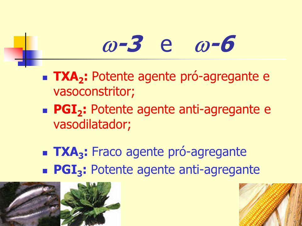 -3 e -6 TXA2: Potente agente pró-agregante e vasoconstritor;