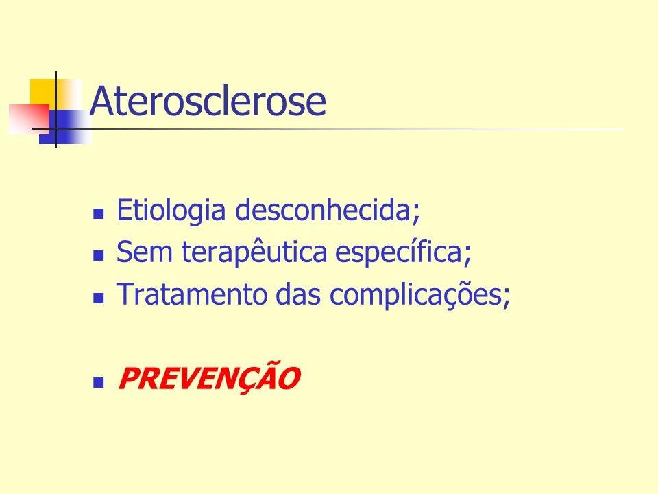 Aterosclerose Etiologia desconhecida; Sem terapêutica específica;