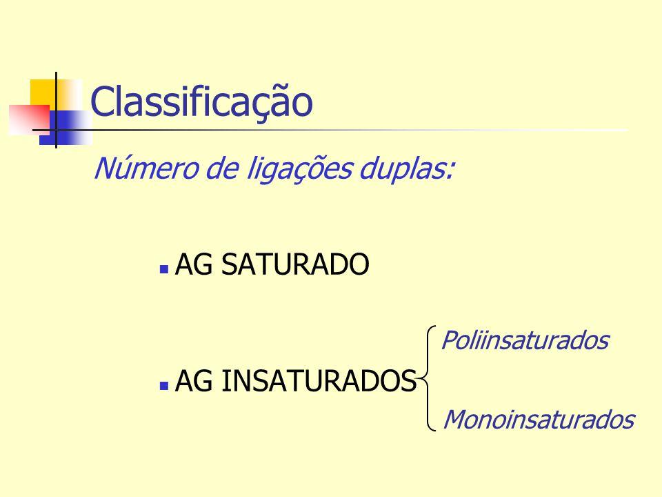 Classificação Número de ligações duplas: AG SATURADO AG INSATURADOS