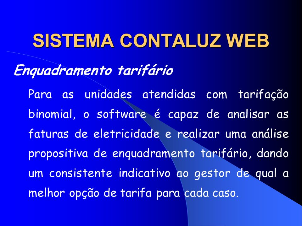 SISTEMA CONTALUZ WEB Enquadramento tarifário