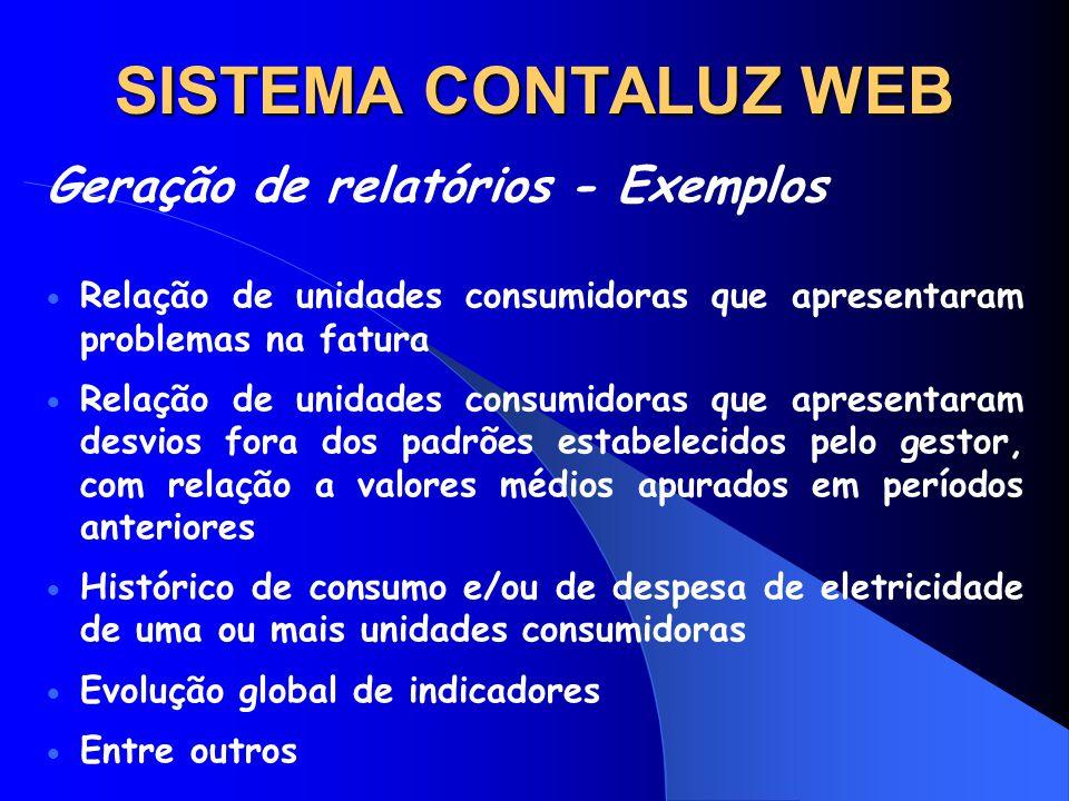 SISTEMA CONTALUZ WEB Geração de relatórios - Exemplos
