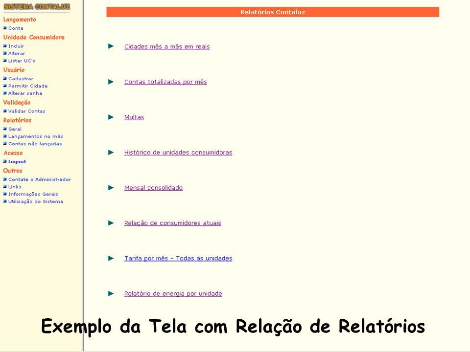 Exemplo da Tela com Relação de Relatórios