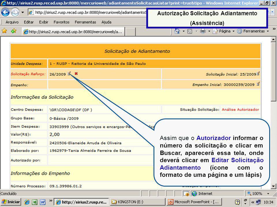 Autorização Solicitação Adiantamento