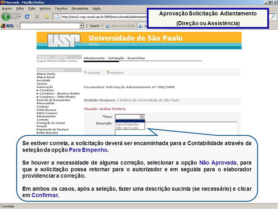 Aprovação Solicitação Adiantamento (Direção ou Assistência)