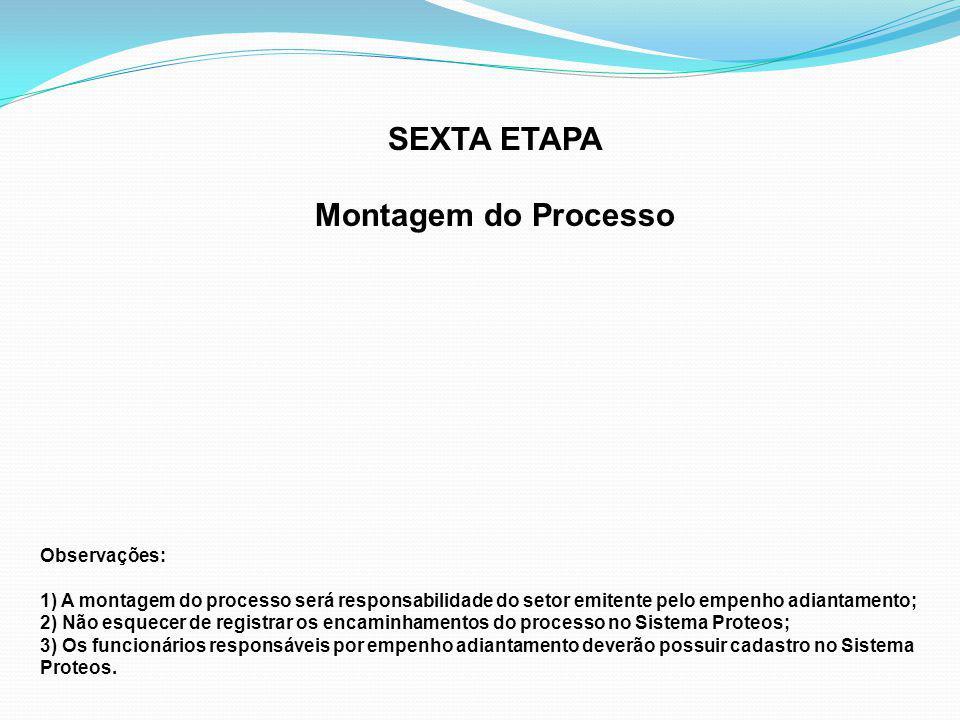 SEXTA ETAPA Montagem do Processo