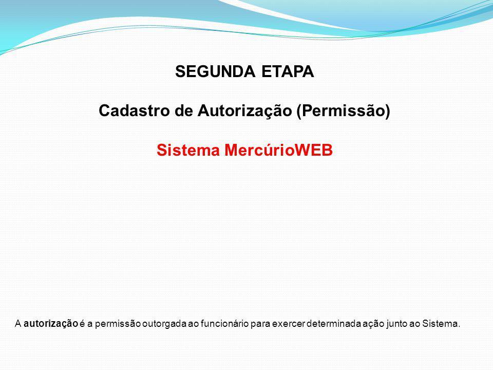Cadastro de Autorização (Permissão)