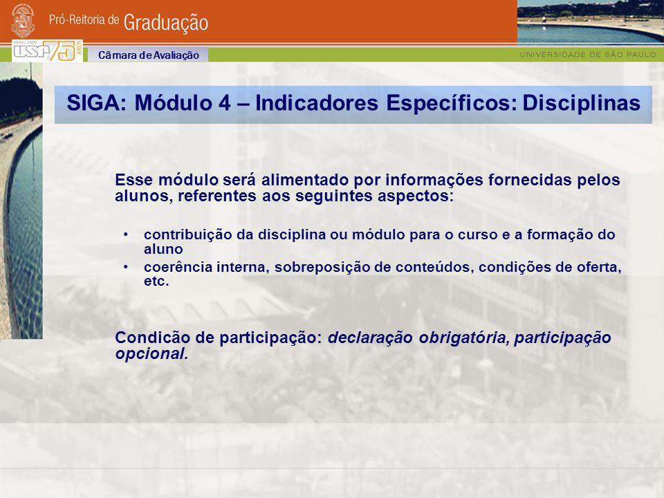 SIGA: Módulo 4 – Indicadores Específicos: Disciplinas