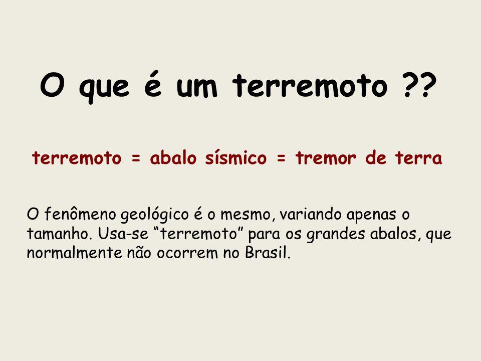 terremoto = abalo sísmico = tremor de terra