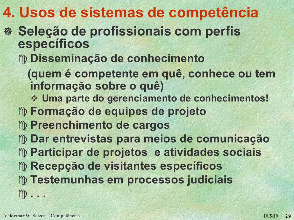 4. Usos de sistemas de competência