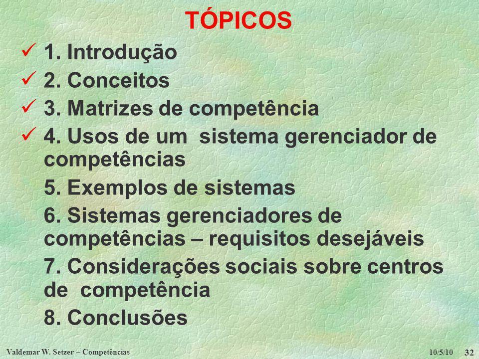 TÓPICOS  1. Introdução   2. Conceitos  3. Matrizes de competência