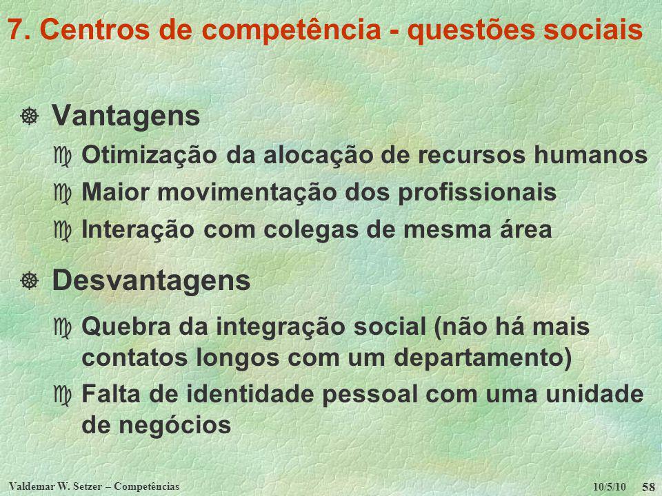 7. Centros de competência - questões sociais