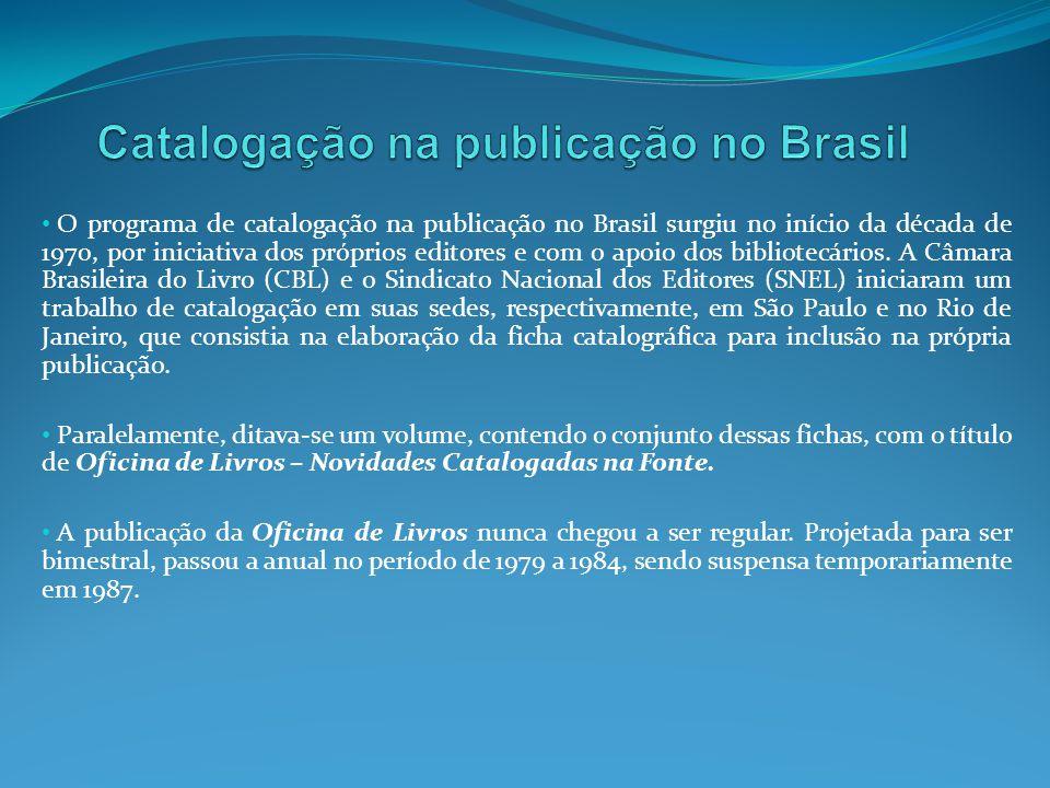 Catalogação na publicação no Brasil