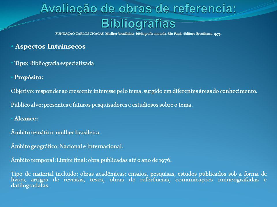 Avaliação de obras de referencia: Bibliografias