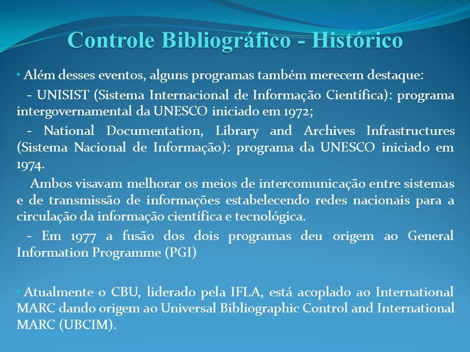 Controle Bibliográfico - Histórico