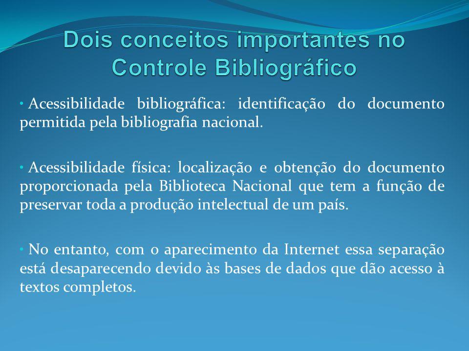 Dois conceitos importantes no Controle Bibliográfico