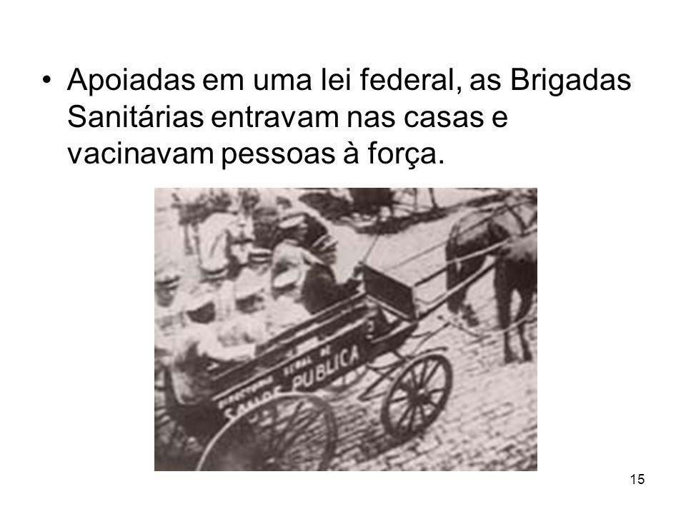 Apoiadas em uma lei federal, as Brigadas Sanitárias entravam nas casas e vacinavam pessoas à força.
