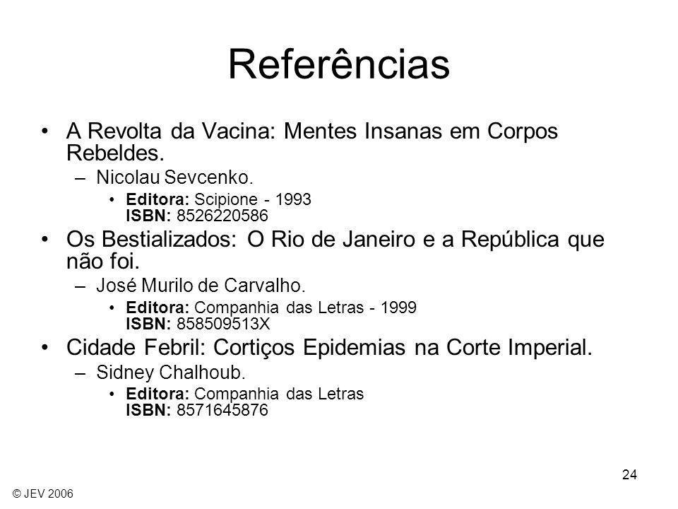 Referências A Revolta da Vacina: Mentes Insanas em Corpos Rebeldes.