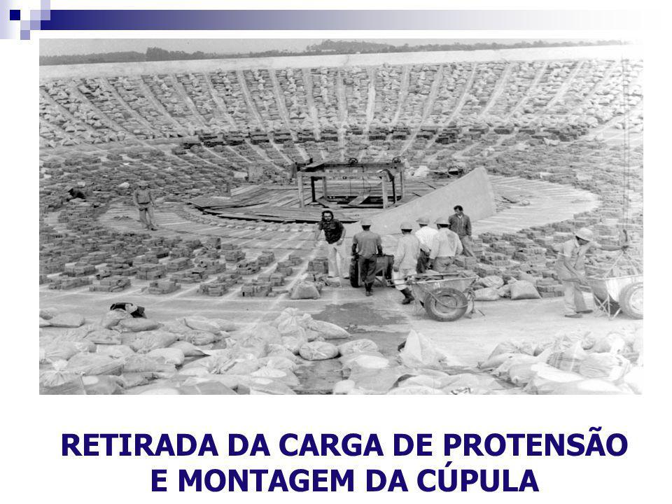 RETIRADA DA CARGA DE PROTENSÃO E MONTAGEM DA CÚPULA