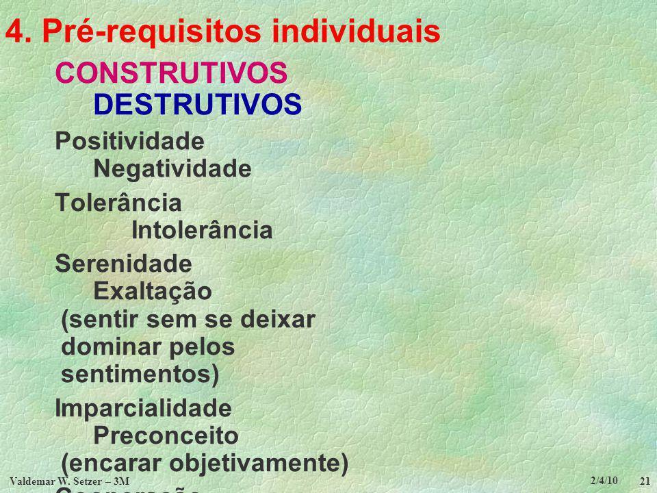 4. Pré-requisitos individuais