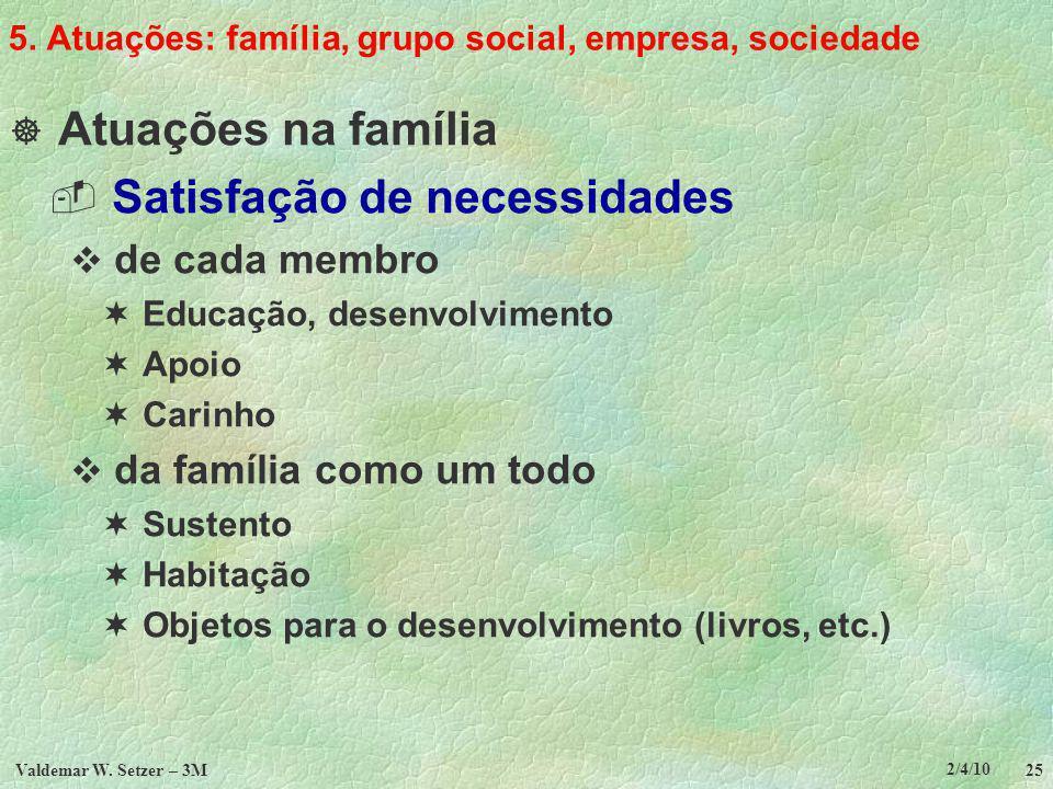 5. Atuações: família, grupo social, empresa, sociedade