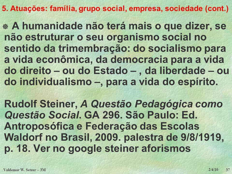 5. Atuações: família, grupo social, empresa, sociedade (cont.)
