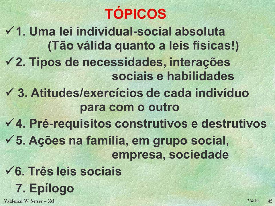 TÓPICOS  1. Uma lei individual-social absoluta (Tão válida quanto a leis físicas!)