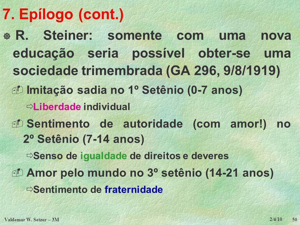 7. Epílogo (cont.) R. Steiner: somente com uma nova educação seria possível obter-se uma sociedade trimembrada (GA 296, 9/8/1919)