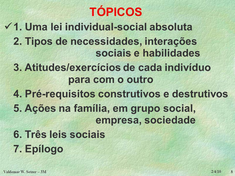 TÓPICOS  1. Uma lei individual-social absoluta