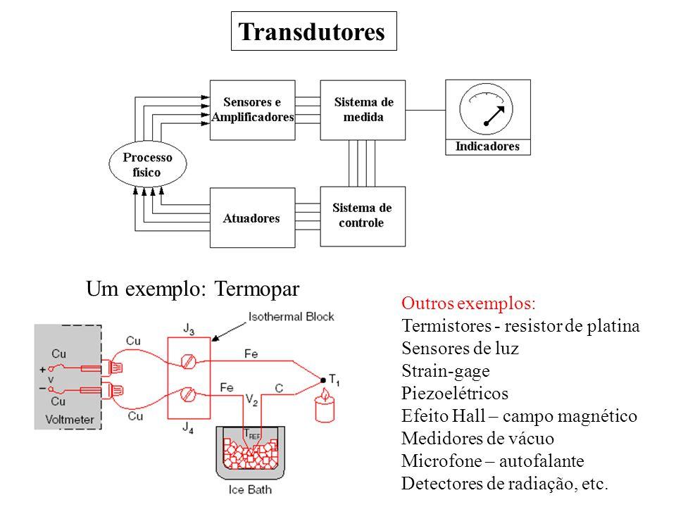 Transdutores Um exemplo: Termopar Outros exemplos: