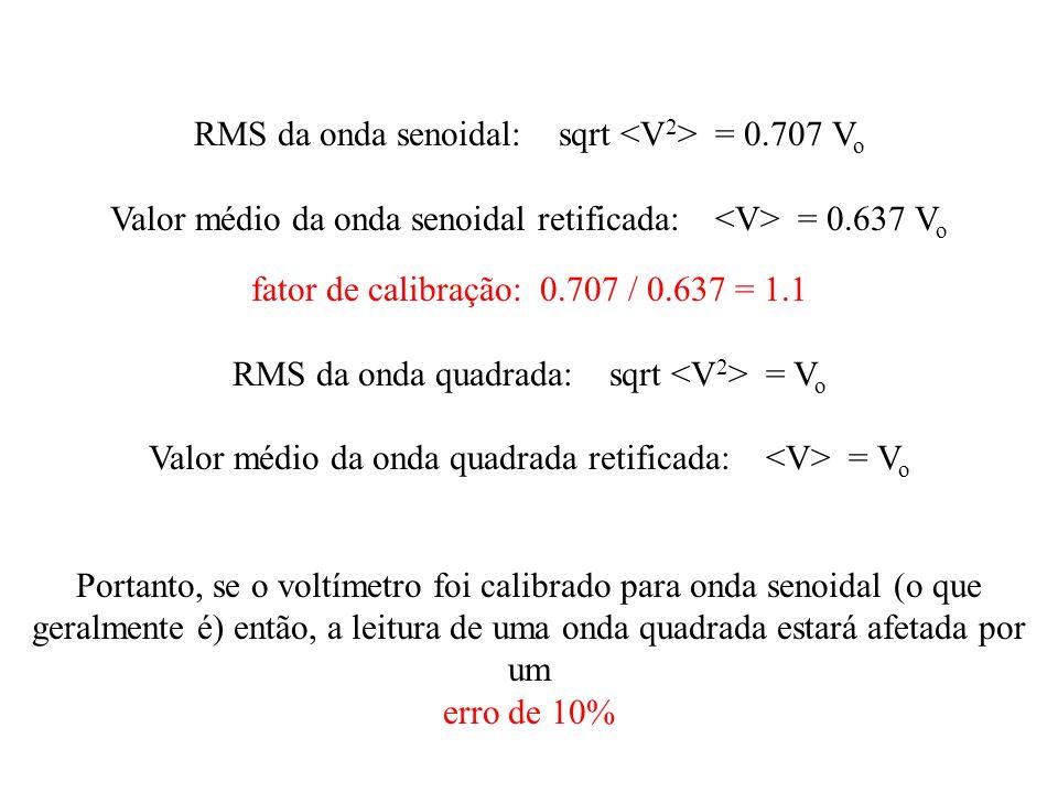 RMS da onda senoidal: sqrt <V2> = 0.707 Vo