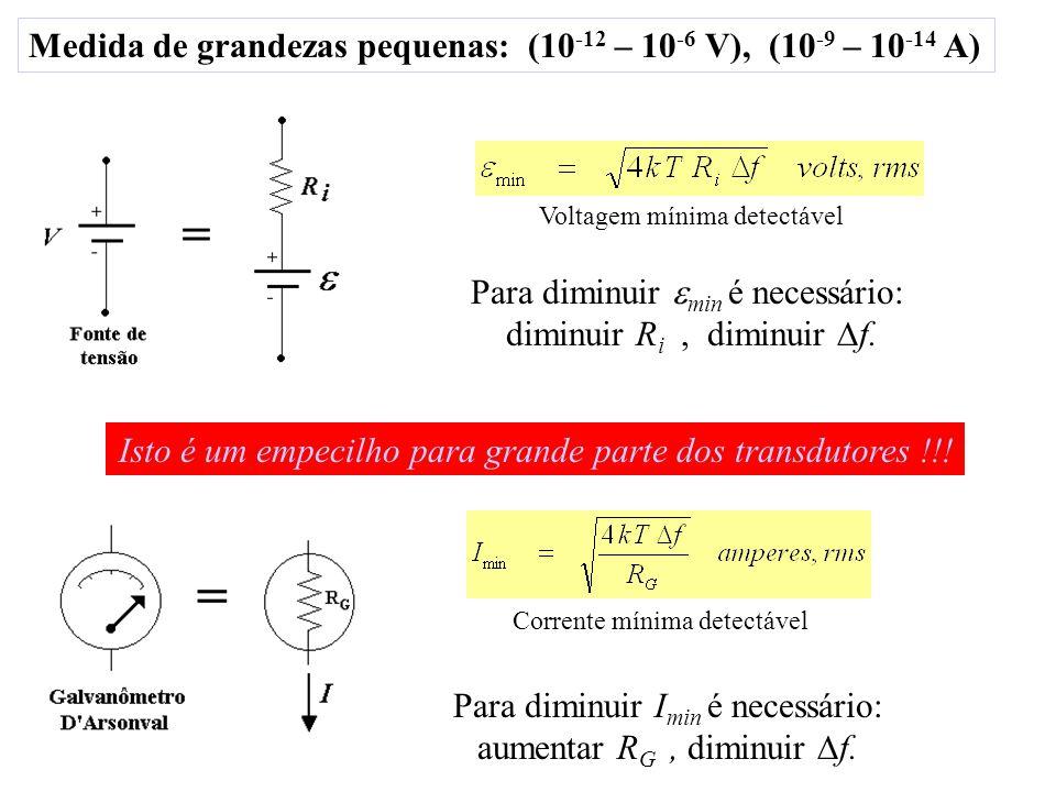 Medida de grandezas pequenas: (10-12 – 10-6 V), (10-9 – 10-14 A)