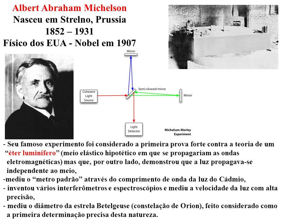 Albert Abraham Michelson Nasceu em Strelno, Prussia 1852 – 1931