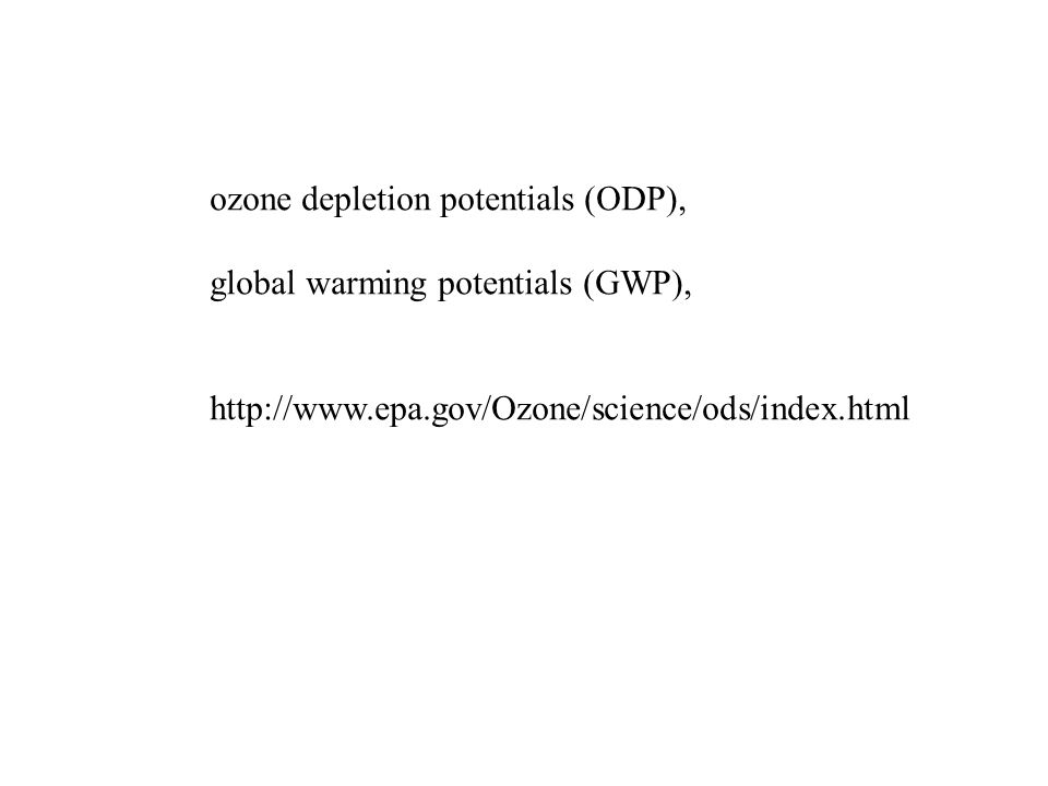 ozone depletion potentials (ODP),
