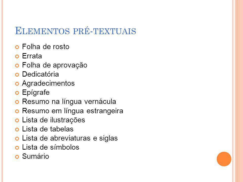 Elementos pré-textuais